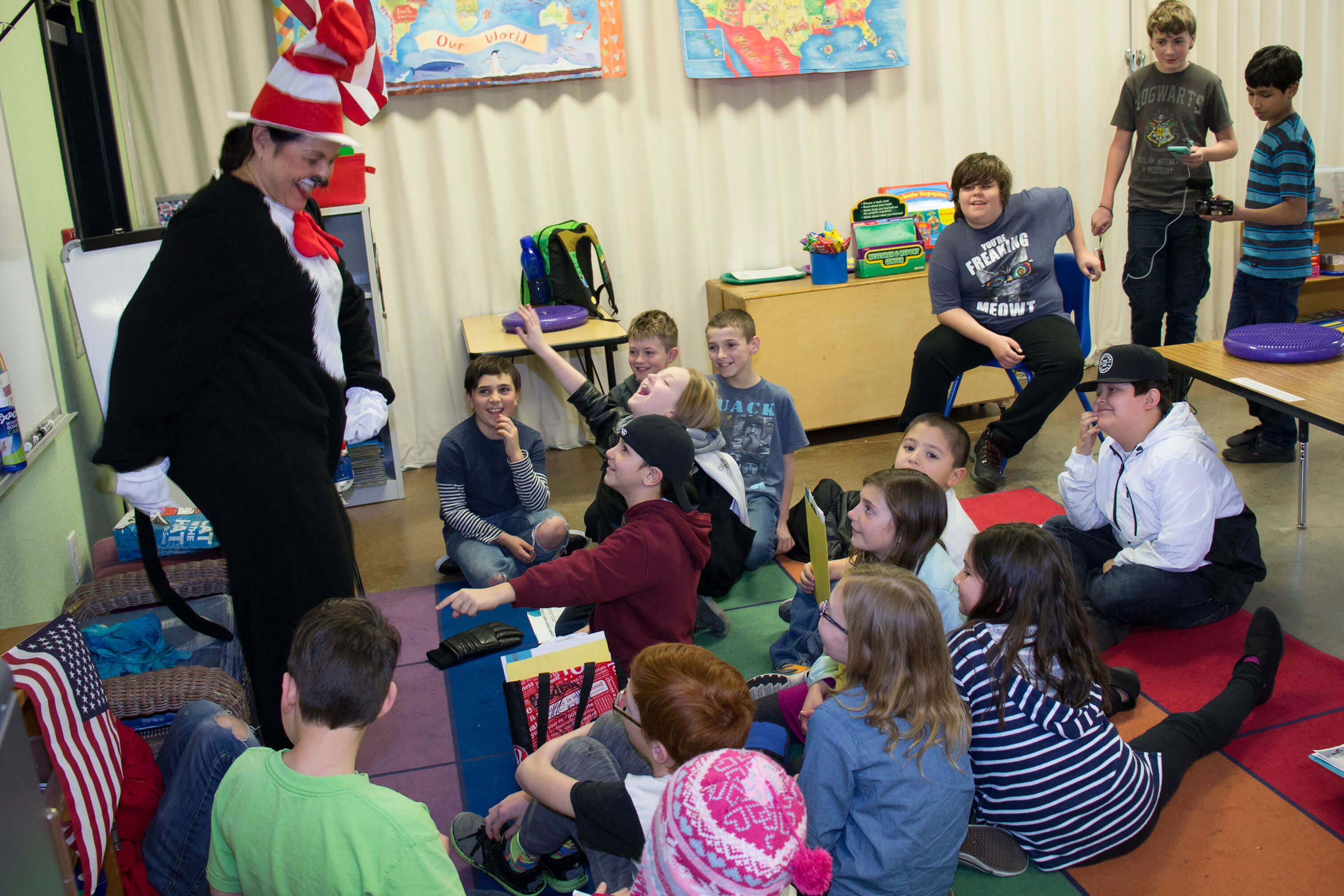 The Cat In The Hat visits Lincoln Montessori 3rd and 4th graders