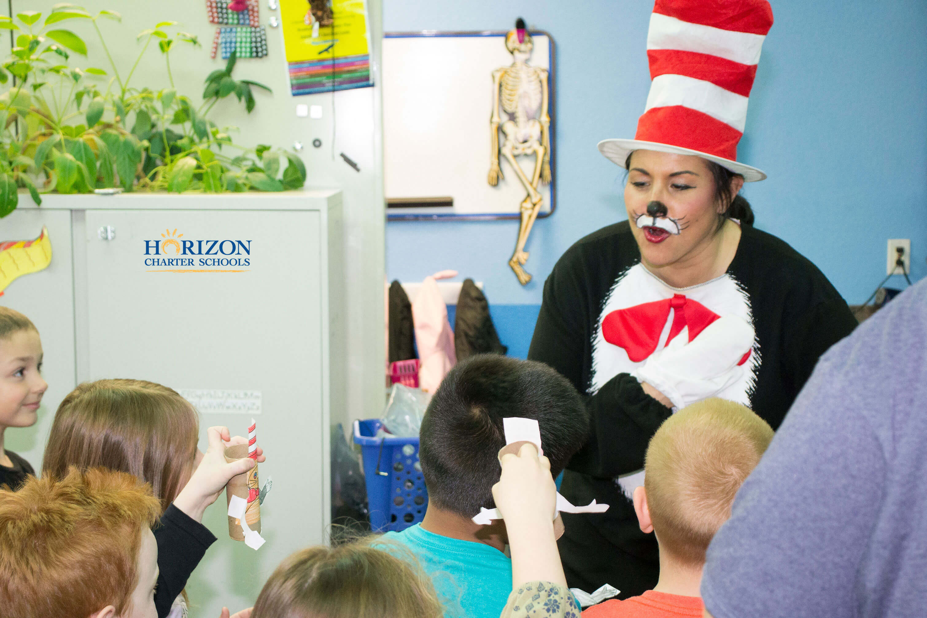 The Cat In The Hat is honored with puppets from Lincoln Montessori students