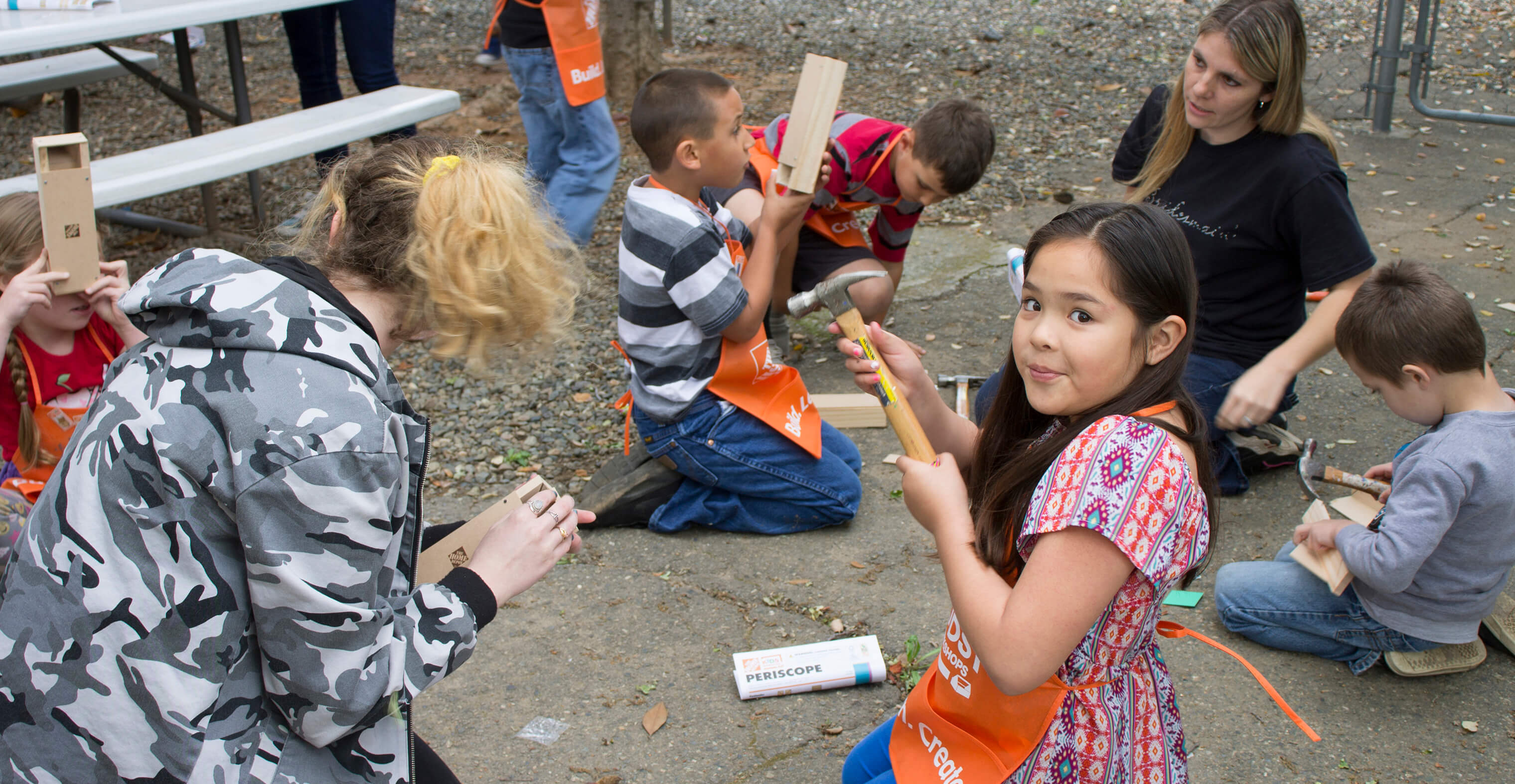Lincoln Montessori students participate in a periscope building project.