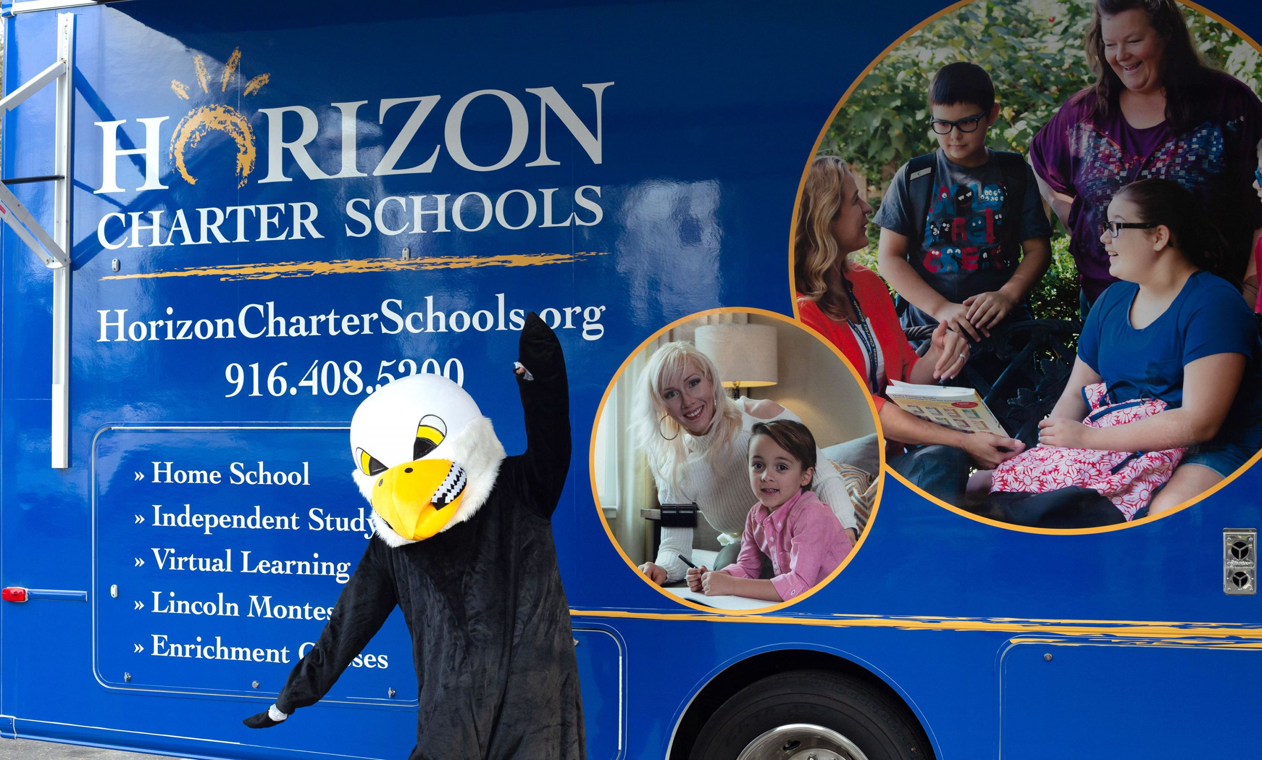 Horizon Charter Schools' Mobile Learning Lab and eagle mascot