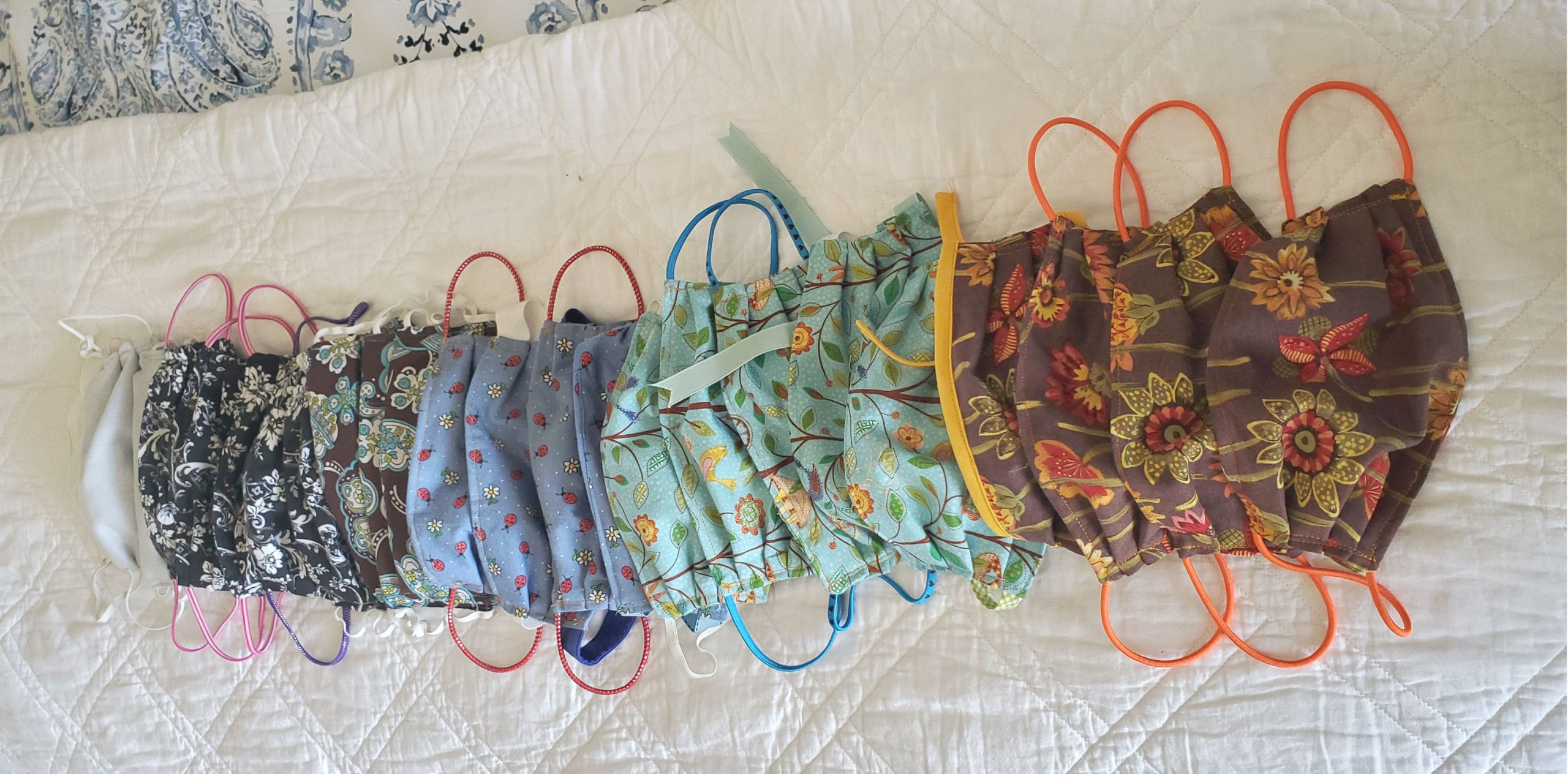 Cloth masks made by Cindy Vaccaro for those in need during COVID-19