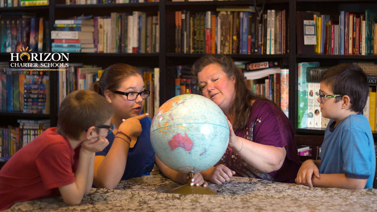 A Horizon Charter Schools multi-age family working together