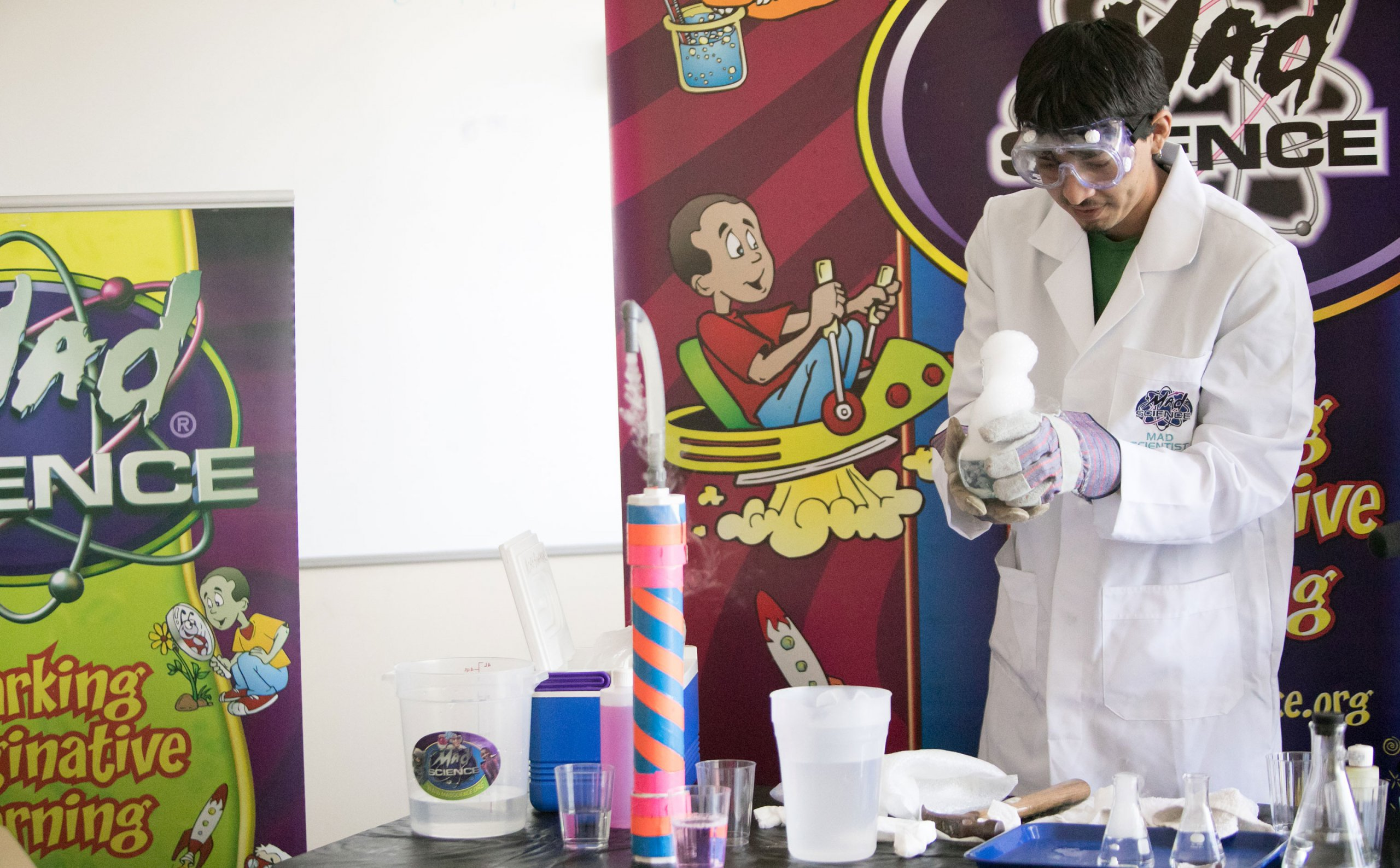 Mad Science teacher performs experiments