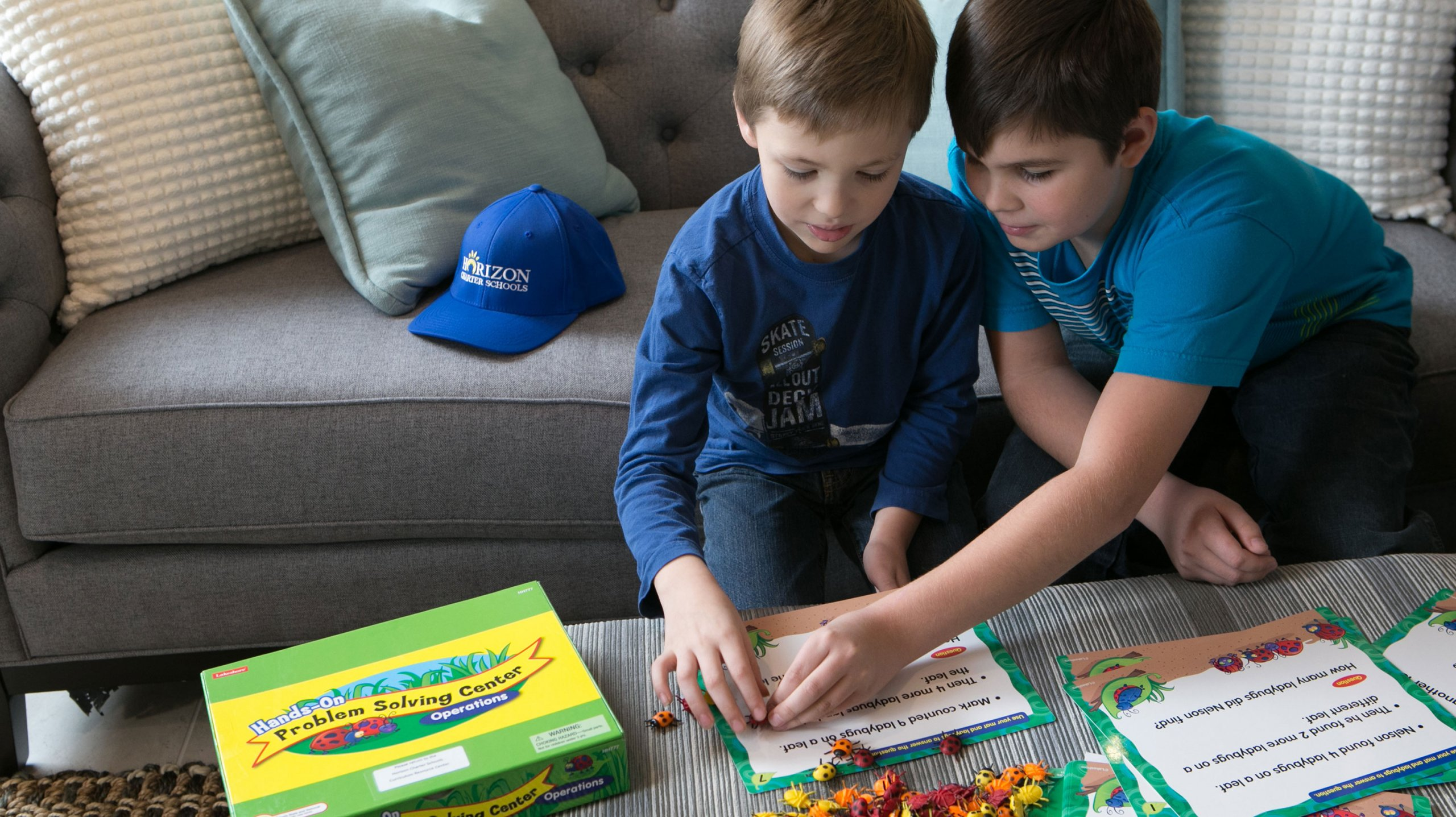 Horizon Charter Schools brothers play a math game