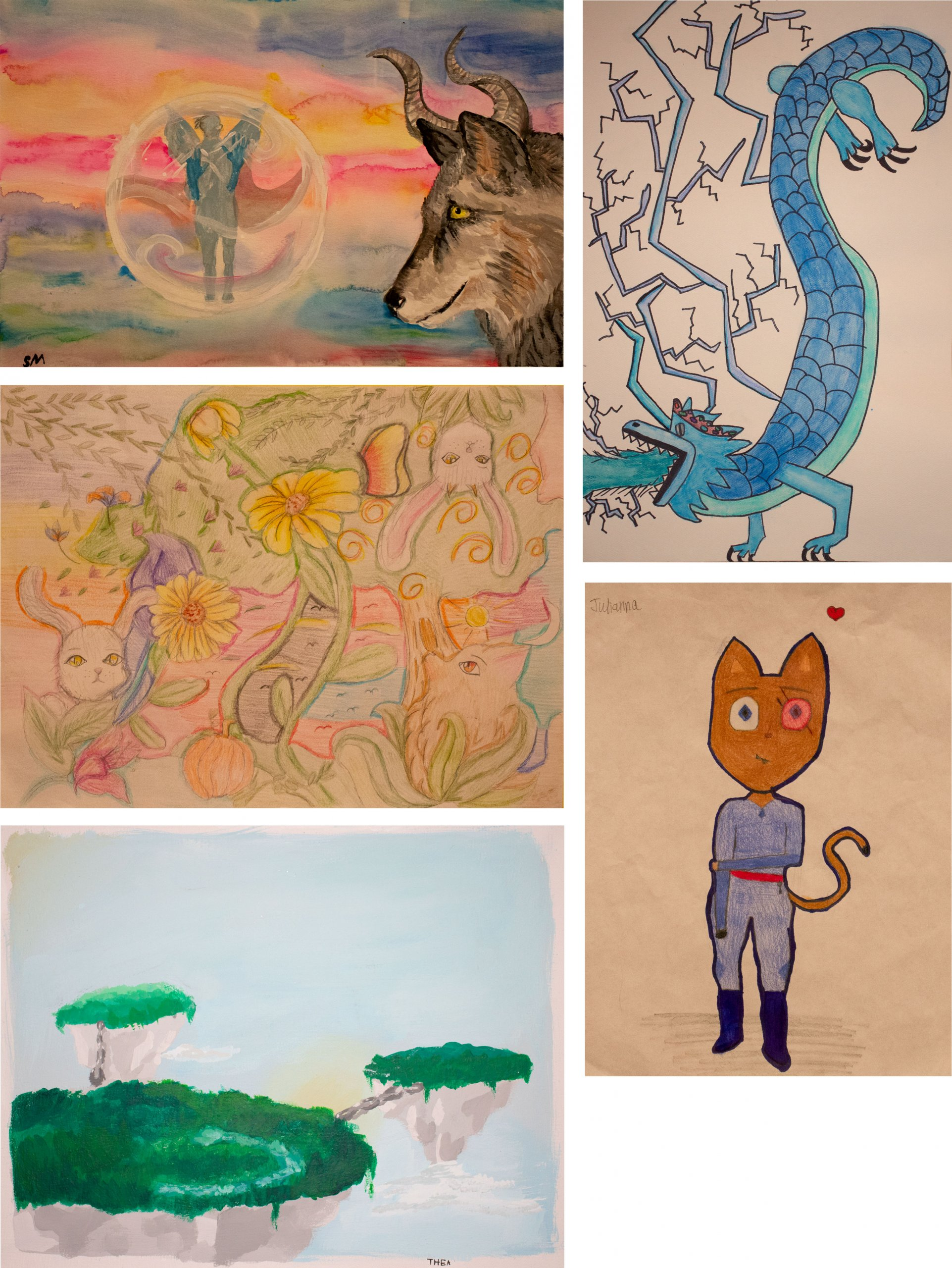 HCS art contest middle school and Superintendent's Choice winners